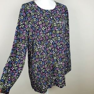 J Jill Floral Long Sleeve Blouse Top XL